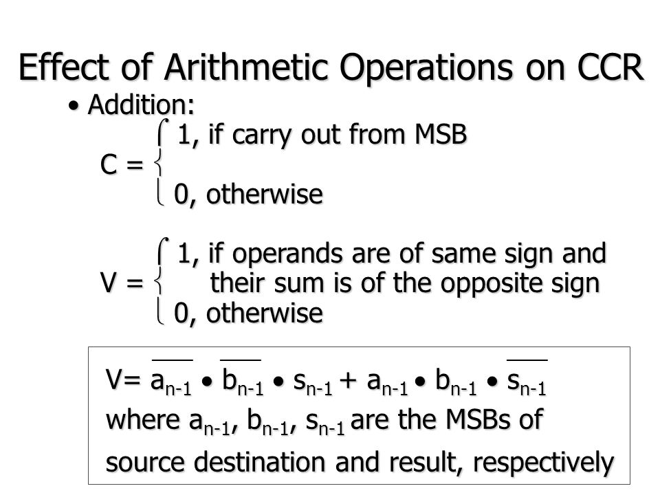 Effect of Arithmetic Operations on CCR Subtraction: Subtraction:  1, if NO carry out from MSB  1, if NO carry out from MSB C =   0, otherwise  0, otherwise  1, if operands are of opposite sign and  1, if operands are of opposite sign and V =  the result is of same sign as the source  0, otherwise  0, otherwise ____________ V= (a n-1  b n-1 )  (d n-1  a n-1 ) where a n-1, b n-1, d n-1 are the MSBs of source destination and result, respectively