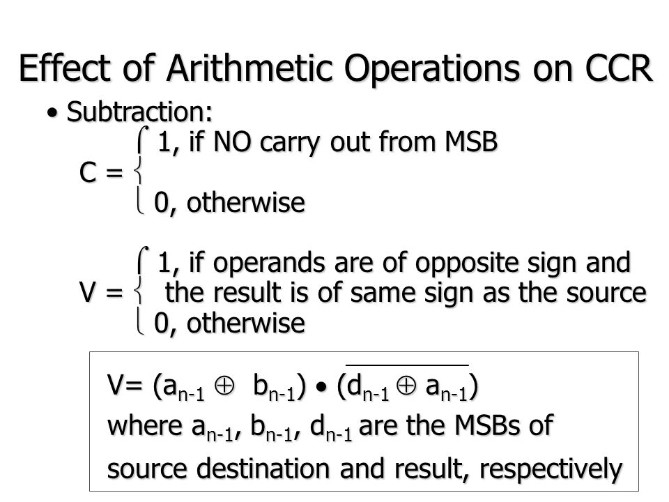 Logical Operation AND, OR, EOR, NOTAND, OR, EOR, NOT If [D0] = 11110000If [D0] = 11110000 AND.B #%10100110,D0 ;[D0]=10100000 OR.B #%10100110,D0 ;[D0]=11110110 EOR.B #%10100110,D0 ;[D0]=01010110