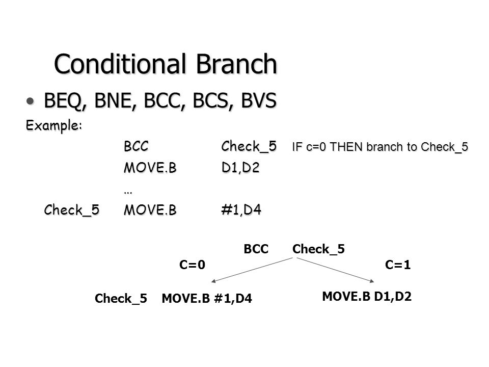 Conditional Branches (con.) BNEBranch on [CCR(Z)]=0 BEQBranch on [CCR(Z)]=1 BCCBranch on [CCR(C)]=0 BCSBranch on [CCR(C)]=1 BVCBranch on [CCR(V)]=0 BVSBranch on [CCR(V)]=1 The complete set of 68000 conditional branch instructions is given in Table 5.2 on page 208.