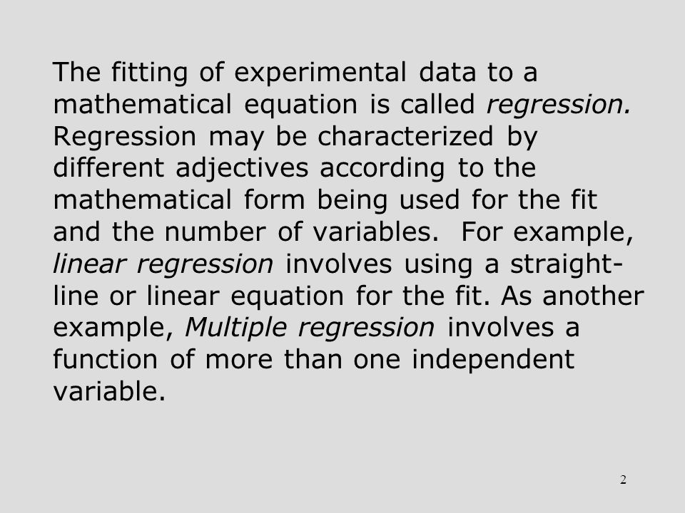 3 Linear Regression Assume n points, with each point having values of both an independent variable x and a dependent variable y.