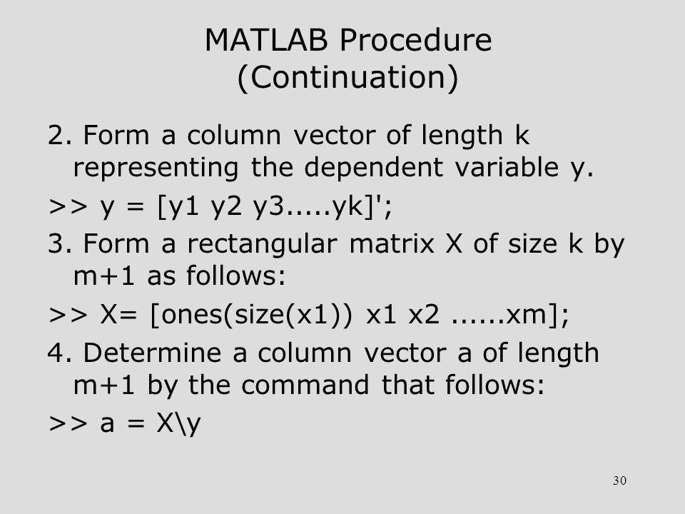 31 MATLAB Procedure (Continuation) 5.