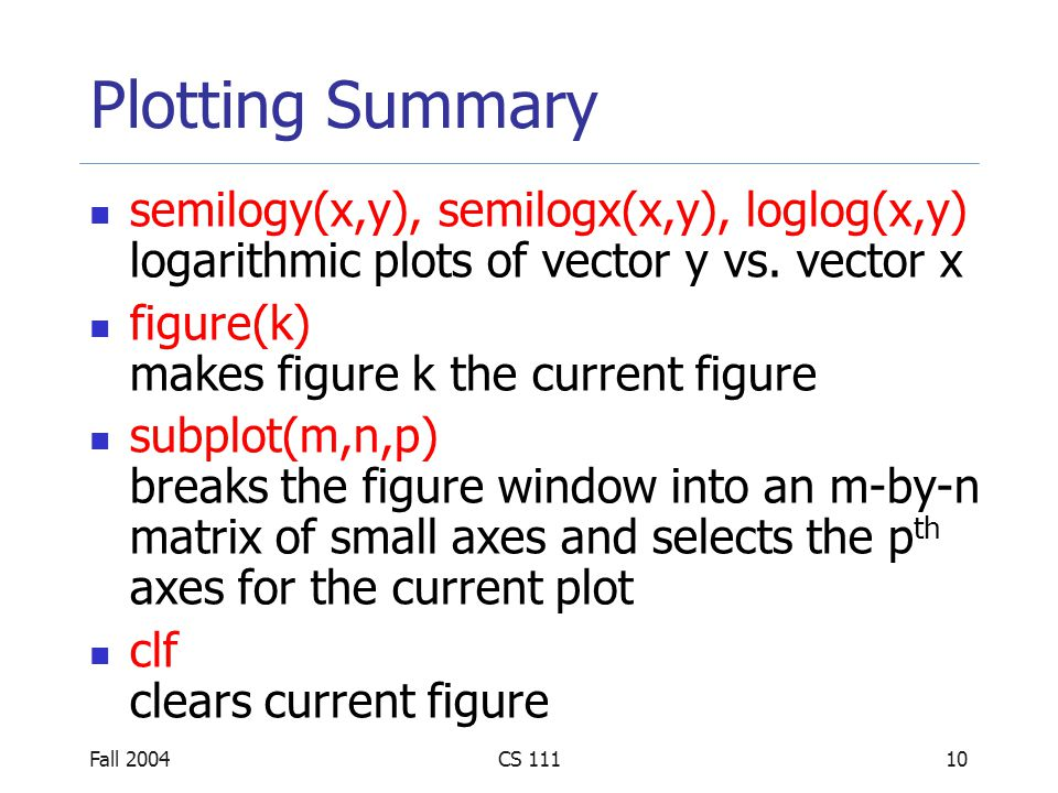 Fall 2004CS 11111 Plotting Summary print –f -d saves the figure with the given handle in the format specified by the device -depsEncapsulated PostScript -depscEncapsulated Color PostScript -deps2Encapsulated Level 2 PostScript -depsc2Encapsulated Level 2 Color PostScript -djpeg JPEG image with quality level of nn -dtiffTIFF image -dpngPortable Network Graphics image