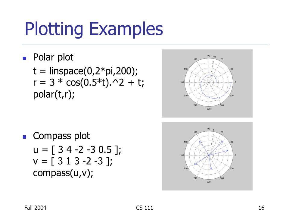 Fall 2004CS 11117 Plotting Examples Error bar plot x = 1:10; y = sin(x); e = std(y) * ones(size(x)); errorbar(x,y,e);
