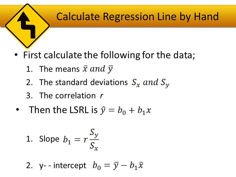 Calculate Regression Line on TI-83/84 Enter the data into lists: explanatory variable L1 and response L2 STAT/CALC/LinReg(a+bx)/L1,L2,VARS/Y- VARS/FUNCTION/Y1 Your display on the screen shows LinReg(a+bx)L1,L2,Y1.
