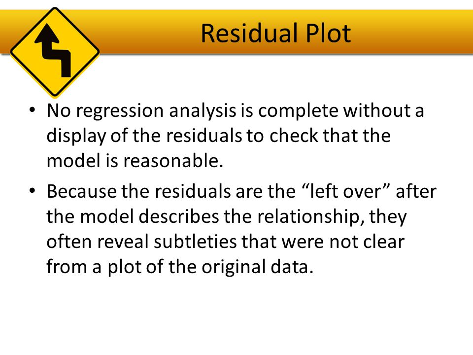 Importance of Checking the Residual Plot The scatterplot of the data seems to indicate that a linear model will be a good fit.