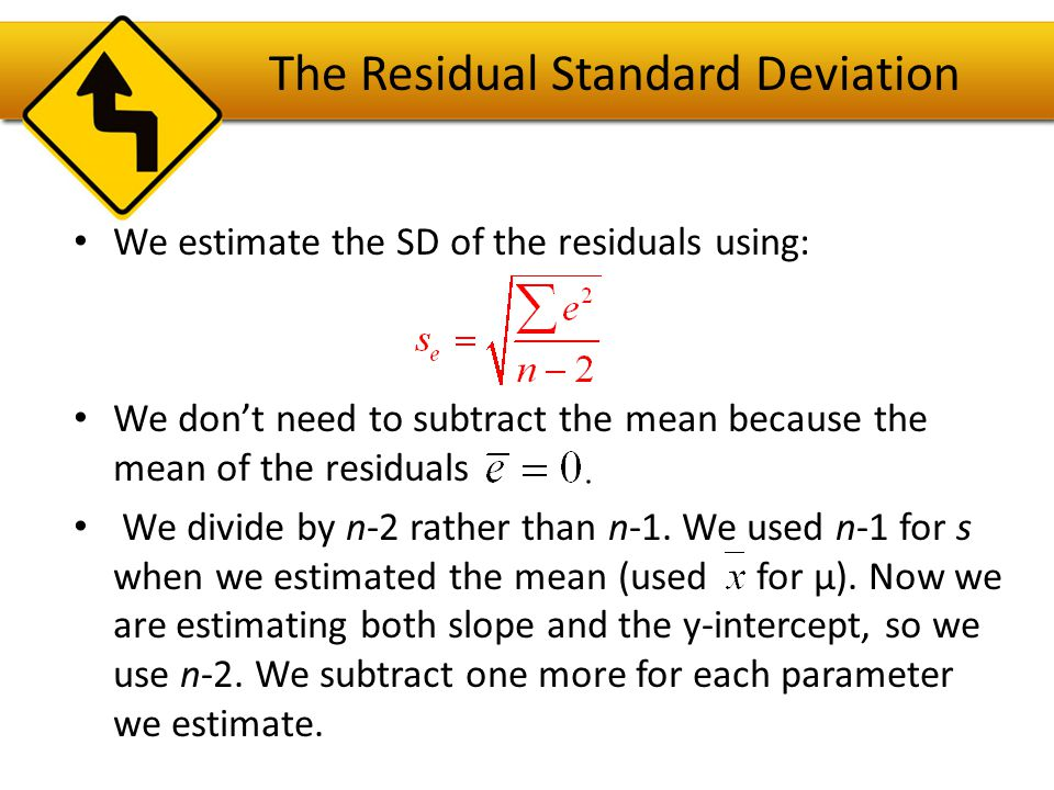 The Residual Standard Deviation Then it's a good to make a histogram of the residuals.
