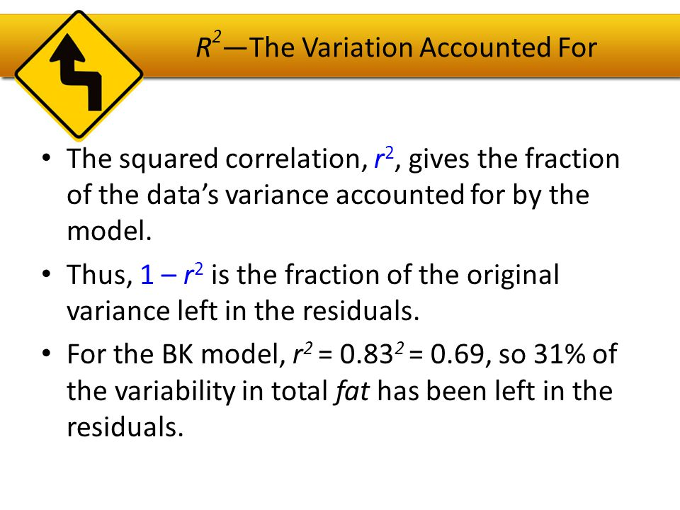 R 2 —The Variation Accounted For All regression analyses include this statistic, although by tradition, it is written R 2 (pronounced R- squared ).