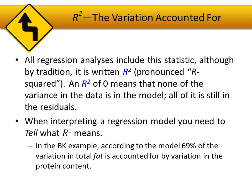 R 2 —The Variation Accounted For The R 2 is the Coefficient of Determination, indicates how well the model (the LSRL) fits the data.