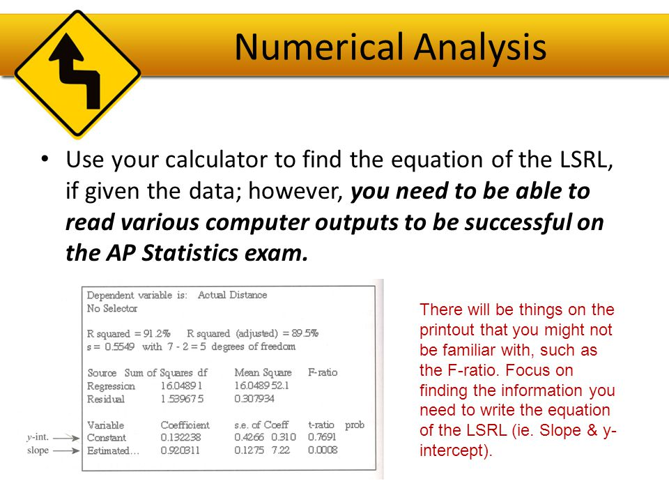 Typical Questions on the Regression State the equation of the LSRL. Define any variables used.