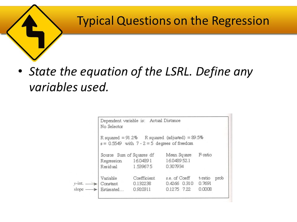 Answer The equation of the LSRL is = 0.1322 + 0.9203(estimated distance) or ŷ = 0.1322 + 0.9203x, where x=estimated distance & ŷ =actual distance