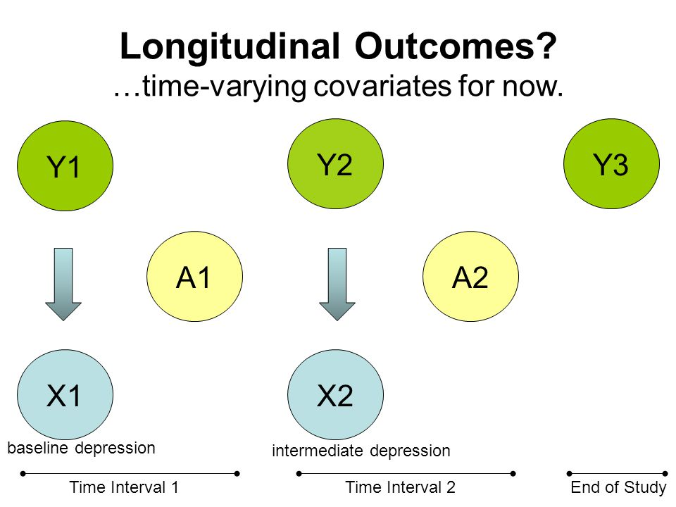 Time-varying Covariates Along with other baseline covariates… X1 X2 A1A2 Y Time Interval 1Time Interval 2End of Study baseline depression, age, race, … intermediate depression met with health specialist or not = 1/0 end of study depression rating
