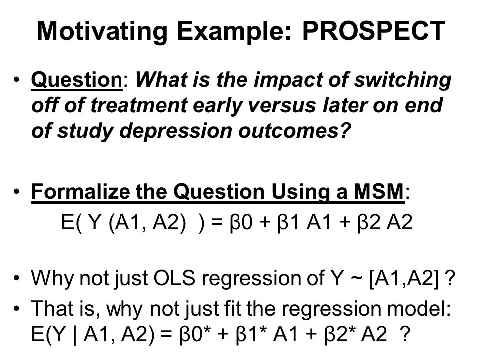 THE CHALLENGE OF TIME- VARYING CONFOUNDING When does ordinary least squares regression analysis may work.