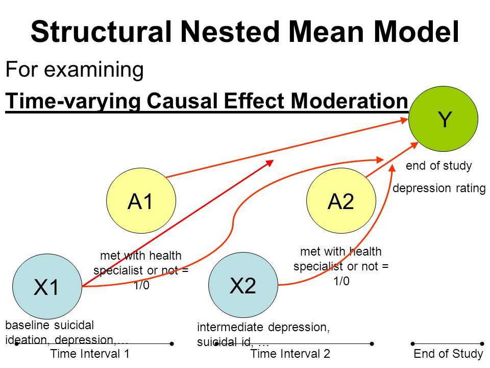 Structural Nested Mean Model We will do this next time we meet… X1 X2 A1A2 Y Time Interval 1Time Interval 2End of Study met with health specialist or not = 1/0 end of study depression rating baseline suicidal ideation, depression,… intermediate depression, suicidal id, …