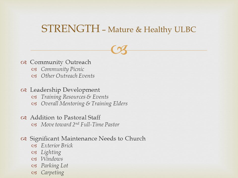   Spiritual Partnership  Emphasis in Worship Services  Deliberate Church-wide Prayer  Encouragement  Communication & Counsel  Training & Resources  Physical Partnership  Goal of Significant Support Levels  Regularly Visiting Fields  Meeting Occasional Needs  Accountability  Expectation of Frequent Reporting  Regular Evaluation of Ministry Progress PARTNERSHIP – More Significant Relationships