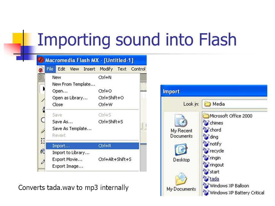 Importing sound into Flash Converts tada.wav to mp3 internally