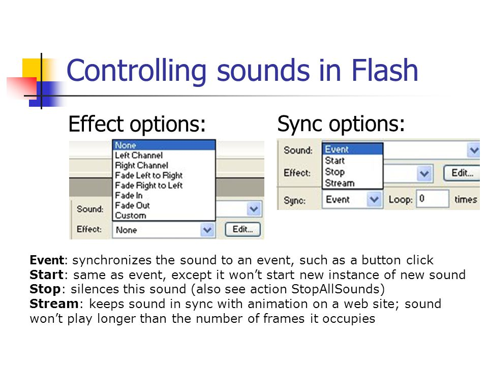 Controlling sounds in Flash Effect options: Sync options: Event: synchronizes the sound to an event, such as a button click Start: same as event, except it won't start new instance of new sound Stop: silences this sound (also see action StopAllSounds) Stream: keeps sound in sync with animation on a web site; sound won't play longer than the number of frames it occupies