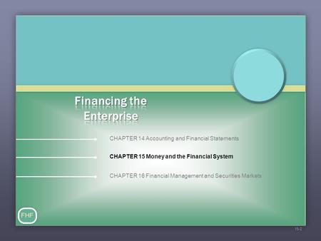 CHAPTER 15 Money and the Financial System FHF 15-2 CHAPTER 14 Accounting and Financial Statements CHAPTER 16 Financial Management and Securities Markets.