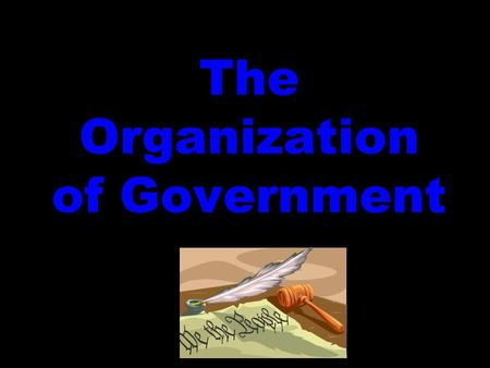 The Organization of Government. 3 BRANCHES OF GOVERNMENT 1.LEGISLATIVE – ARTICLE 1 2.EXECUTIVE – ARTICLE 2 3.JUDICIAL – ARTICLE 3.