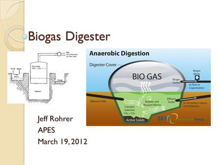 Biogas Digester Jeff Rohrer APES March 19, 2012. How it works? Anaerobic digestion- absence of oxygen, aka fermentation Organic waste is put in a air.