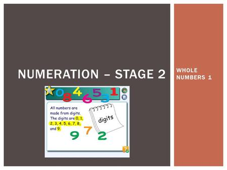WHOLE NUMBERS 1 NUMERATION – STAGE 2. By the end of these lessons, students should be able to: Say, read and write numbers of up to five digits State.