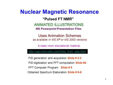 1 Nuclear Magnetic Resonance ANIMATED ILLUSTRATIONS MS Powerpoint Presentation Files Uses Animation Schemes as available in MS XP or MS 2003 versions A.