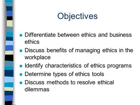 Three Objectives of Ethics Training Programs
