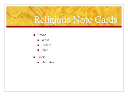 Religions Note Cards Front Word Picture Unit Back Definition.