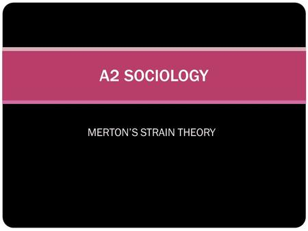MERTON'S STRAIN THEORY A2 SOCIOLOGY. LEARNING OUTCOMES OF THE TOPIC You will be able to... 1. Identify and define the functionalist perspectives on crime.