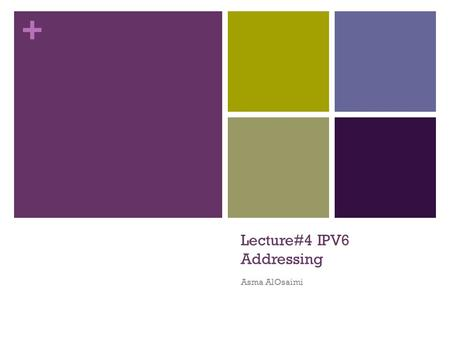 + Lecture#4 IPV6 Addressing Asma AlOsaimi. + Topics IPv4 Issues IPv6 Address Representation IPv6 Types.
