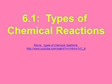 Movie: types of chemical reactions: