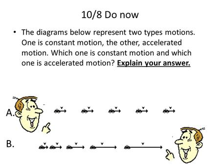 10/8 Do now The diagrams below represent two types motions. One is constant motion, the other, accelerated motion. Which one is constant motion and which.