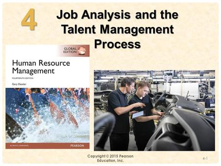 4- Copyright © 2015 Pearson Education, Inc. 4-14 Job Analysis and the Talent Management Process.