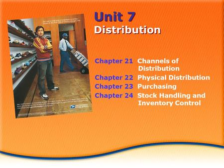 Unit 7 Distribution Chapter 21 Channels of Distribution Chapter 22 Physical Distribution Chapter 23 Purchasing Chapter 24 Stock Handling and Inventory.