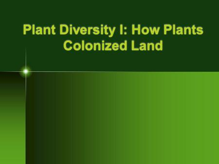 Plant Diversity I: How Plants Colonized Land. Four Key Traits Plants share with ancestor The four key traits that plants share with charophyceans (algae)