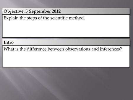 Intro Objective: 5 September 2012 Explain the steps of the scientific method. What is the difference between observations and inferences?