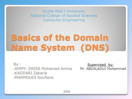 Basics of the Domain Name System (DNS) By : AMMY- DRISS Mohamed Amine KADDARI Zakaria MAHMOUDI Soufiane Oujda Med I University National College of Applied.