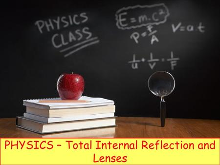 PHYSICS – Total Internal Reflection and Lenses. LEARNING OBJECTIVES Core Describe the formation of an optical image by a plane mirror, and give its characteristics.