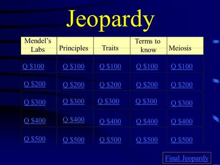 Jeopardy Mendel's Labs Principles Traits Terms to know Meiosis Q $100 Q $200 Q $300 Q $400 Q $500 Q $100 Q $200 Q $300 Q $400 Q $500 Final Jeopardy.