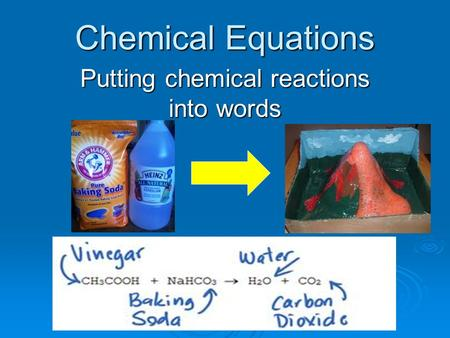 Chemical Equations Putting chemical reactions into words.