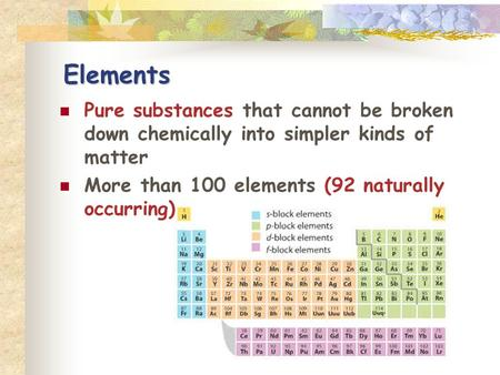 Elements Pure substances that cannot be broken down chemically into simpler kinds of matter More than 100 elements (92 naturally occurring)