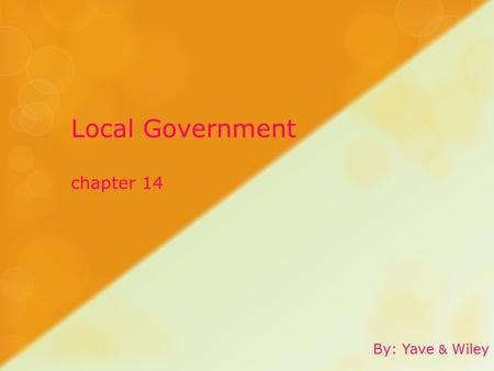 Local Government chapter 14 By: Yave & Wiley. Local  Close to home, nearby; having to do with a city, county, town, village, or other small government.