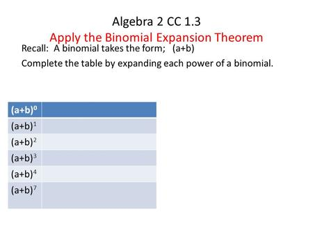 Algebra 2 CC 1.3 Apply the Binomial Expansion Theorem Recall: A binomial takes the form; (a+b) Complete the table by expanding each power of a binomial.