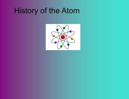 History of the Atom. Democritus ·Suggested matter was made of very small particles that could not be broken down further. ·He called the particles atoms,