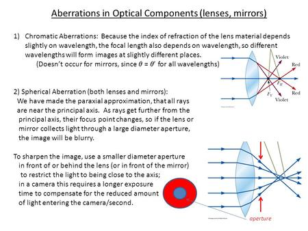 Aberrations in Optical Components (lenses, mirrors) 1)Chromatic Aberrations: Because the index of refraction of the lens material depends slightly on wavelength,