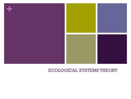 + ECOLOGICAL SYSTEMS THEORY. + Definition A psychological theory that identifies 5 environmental systems which an individual interacts _______________________________.