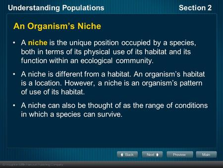 Understanding PopulationsSection 2 An Organism's Niche A niche is the unique position occupied by a species, both in terms of its physical use of its habitat.