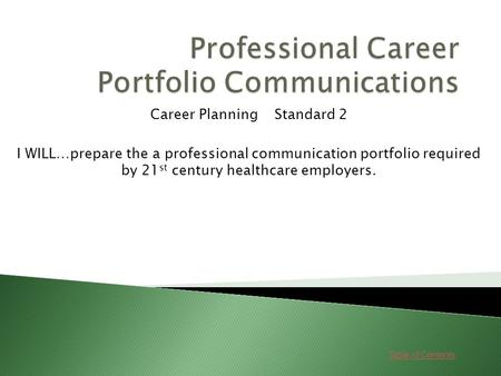 Table of Contents Career Planning Standard 2 I WILL…prepare the a professional communication portfolio required by 21 st century healthcare employers.