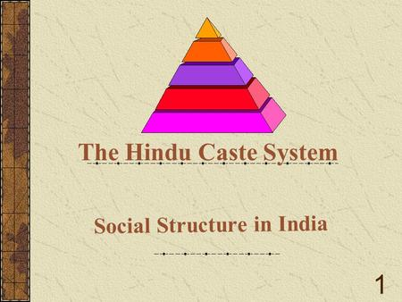 Social Structure in India The Hindu Caste System 1.