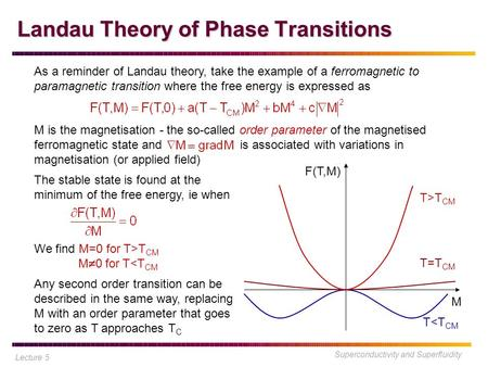 Superconductivity and Superfluidity Landau Theory of Phase Transitions Lecture 5 As a reminder of Landau theory, take the example of a ferromagnetic to.