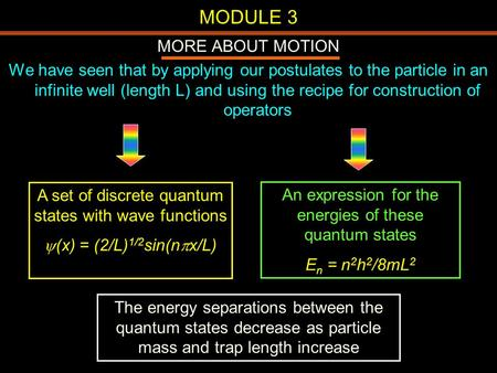 MODULE 3 MORE ABOUT MOTION We have seen that by applying our postulates to the particle in an infinite well (length L) and using the recipe for construction.